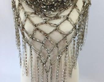 Crochet Trellis Yarn High Fashion Solomon's Knot Fringe Shawl