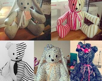 Custom Memory Bears Memory Bunny Keepsake Bears Keepsake Bunny Made from loved ones clothes 37cm tall Free UK P&P