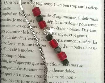 Bookmark silver metal square beads with black and Red transparent, as well as a small star in the Center