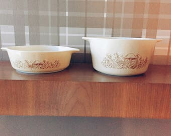 Pyrex Dishes Forest Fancies 471-B 473-B Set of 2