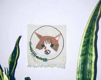 Custom Embroidered Pet Portrait Banner *sample of completed banner is pictured*