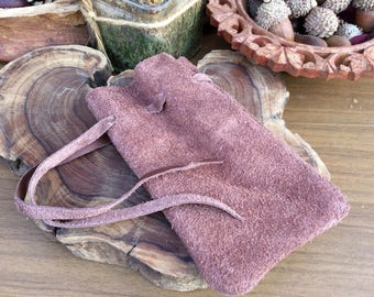 Hand Crafted Brown Leather Suede Drawstring Pouch Medieval