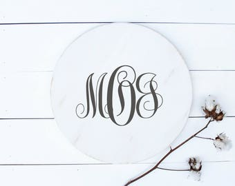 custom monogram lazy susan cheese board wooden table tray wooden rustic tray