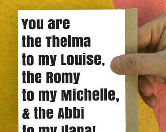 Thelma louise etsy broad city thelma and louise romy and michelle bff cards i love bookmarktalkfo Images