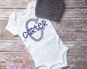 Personalized Coming Home Bodysuit Baby Boy Name Onesie Hospital Outfit