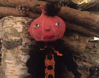 Pumpkin, Helloween, Art doll, Handmade Doll, Paperclay Art Doll, Collection Doll, Sculpted Paperclay Art Doll, OOAK doll, Interior Art Doll