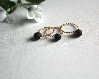 Lava rock ring, essential oil diffusser ring, lava stone, statement ring, aromatherapy ring, gift for her