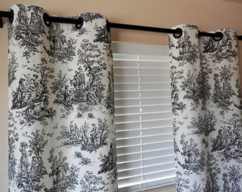 Window Curtains Toile Curtains window drapes white/black curtains custom curtains grommets curtains living room curtains