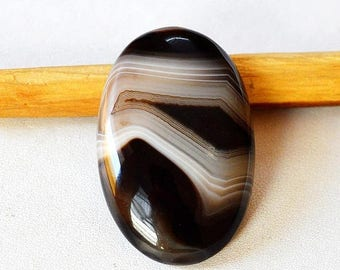 80% Sale Black Banded Agate 62 Cts Natural Gemstone Oval Shape Loose Cabochon 40x26x7 MM AC2776