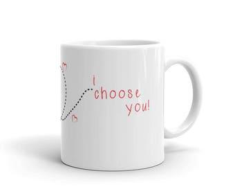 Valentines Day Pokemon Mug - I Choose You Mug - Pokemon - Pokeball
