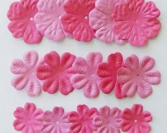 Paper Flower, 15 Pink Flower Embellishments, Paper Flowers for Crafts, Craft Paper Flowers, Pink Flowers, Scrapbooking, Card Making, Crafts