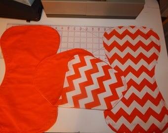 Orange and White chevron burp cloth set of 3