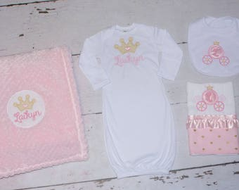 Princess Carriage Crown Pink Gold Custom Baby Gift Set Newborn Embroidery