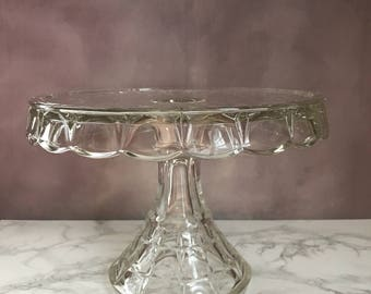 Vintage Clear Pressed Glass Cake Stand