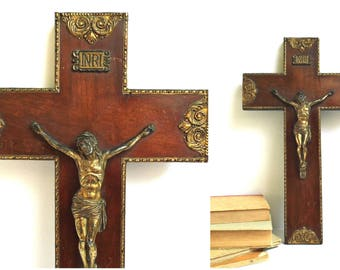 Antique Wooden Brass Cross Crucifix Wall Hanging Jesus Christ Vintage Ornate Gold Catholic Large Religious Home Chapel Altar Christian Decor