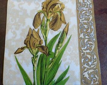 Napkins 5 paper flowers, Golden iris paper towel