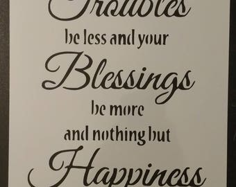 Irish Blessing Blessings Happiness Custom Stencil FAST FREE SHIPPING