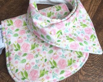 New baby gift Bib and burp cloth set baby bandana bib Baby girl gift set Girl drool bib-Burp Cloth Set-Organic Burp Cloth-Girl Burp Cloth