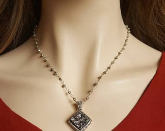 CLEARANCE Silver Druzy Pyrite Bead Necklace