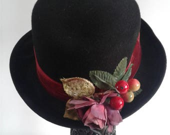 Vintage 70s Cherry Hat, Vintage Hat from the 1970's, Retro Chic Hat, 1960's Hat Styles, Bollman 100% Wool Felt