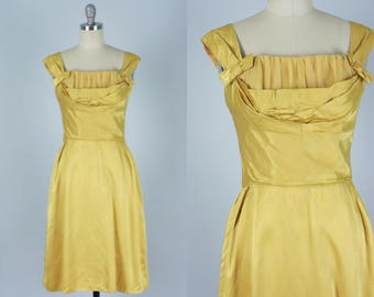 Vintage 1950s Dress | Golden Satin Cocktail Dress with Chiffon Bustline | Small