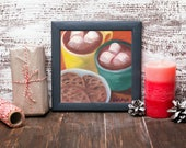Hot Chocolate Art - Chocolate Painting - Cookies Painting - Chocolate Chip Cookies - Food Still Life - Original Oil Painting - Kitchen Decor
