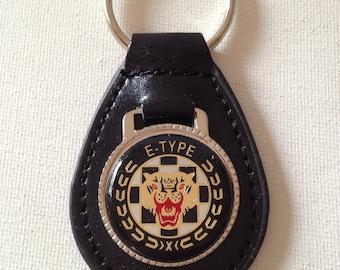 Jaguar E Type Keychain Black Leather Key Chain