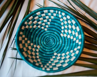 Ugandan basket - teal design