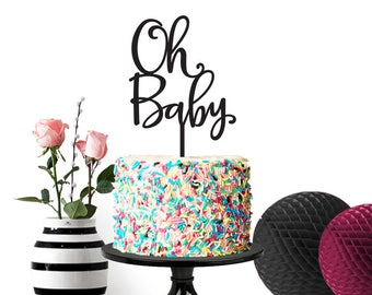 Oh Baby Cake Topper, Baby Shower Cake Topper, Gender Neutral Shower, Gender Reveal, Cake Topper, 059
