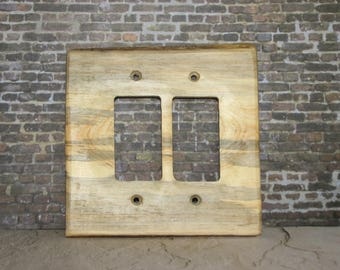 Rocker Plank Switchplate, Switch Cover, Wall Plate, Wood Switchplate, Wood Plank Switchcover, Double