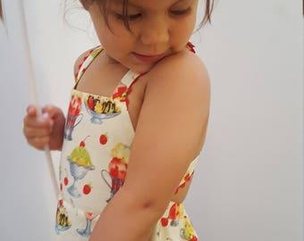 18m Summer Apron Dress, cherries ice cream and sundaes, cotton dress