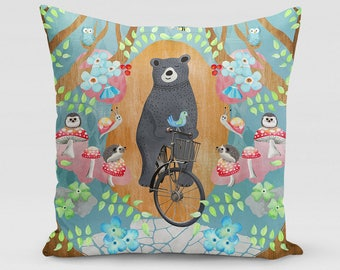 Bicycle Riding Bear Square Pillow   Home Decor   Studio Carrie   Gift