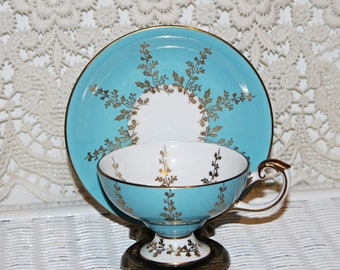 Rare Aynsley Pedestal Teacup & Saucer in Aqua Blue and Gold Leaf Narrow Footed Teacup Wide Mouth