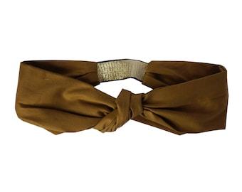 Headband Audrey - Mustard Satin with Gold lurex elastic Headband,  Modern retro  Headband, Autumn Winter Headband, Made in Paris headband