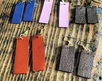 Leather Rectangle Earrings - Leather Earrings - Leather Jewelry - Upcycled Leather - Upcycled Leather Jewelry - Leather Gifts - Simple