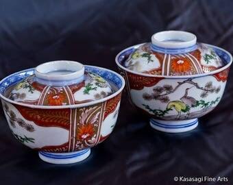Two ANTIQUE IMARI Covered Bowls Signed Imari
