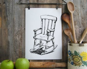 Rocking chair printable, Black and white print, Instant download art, Hipster wall decor, Hostess gift, Kitchen decor