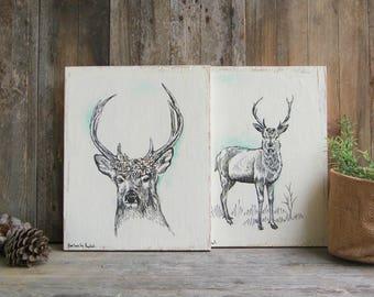 Deer Decor, Deer Head Print, Set of 2 Prints, Rustic Wood Signs, Wood Wall Decor, Farmhouse decor, Woodland Animals, Valentines Gift
