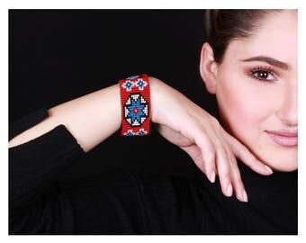 Red and Blue Beaded Bracelet - Abstract Bracelet - Cuff Bracelet - Beaded Jewelry - Beaded Cuff Bracelet - Statement Bracelet - Gift For Her