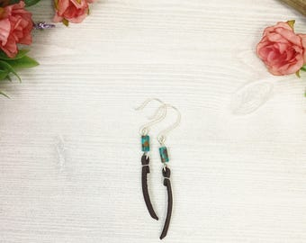 Turquoise Stone Earrings with Chocolate Brown Leather >> Natural Stone Jewelry >> Southwestern Nature Jewelry >> Bohemian >> Gifts For Her