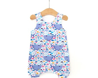 Whale romper, Whale outfit, whale harem romper, girls Romper, girls summer clothes, whale baby gift, baby girl outfit, baby girl whale