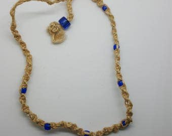 Blue beaded hemp necklace, choker (HNK001)