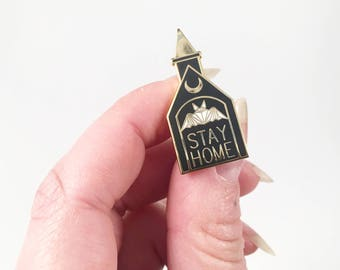 """STAY HOME Bat Castle Gold Black and White Enamel Pin 1.5"""""""