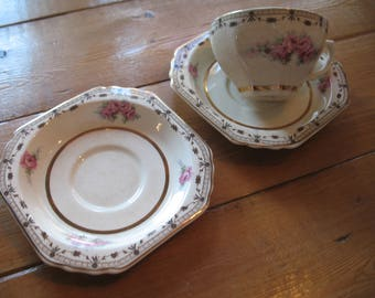 THOMAS HUGHES & SON.2 saucers a Cup. Coronation. Replacement pieces. Vintage 1930
