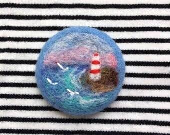 "Needle felted brooch ""Lighthouse"". Felted landscapes.Wool felt brooch hand made. Войлочная брошь ""Маяк"". Валяная брошь. Пейзаж из шерсти."