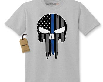 Police Thin Blue Line Skull American Flag - Support Police Departments Kids T-shirt