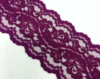 """5"""" (Approximate) Wide Purple Floral Pattern Lace by Yard"""
