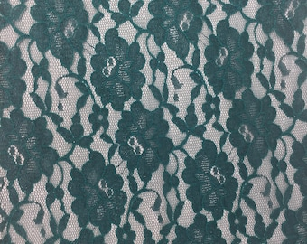 "11 3/4"" wide Forest Green Floral Lace by yard"