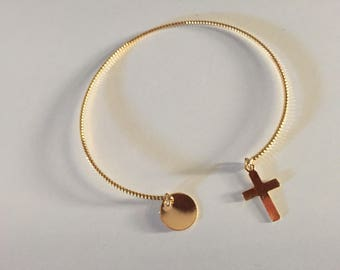 Gold plated Bangle twisted Cross medal creating French lophelisa.