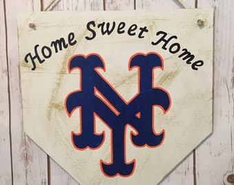 New York Mets home plate sign, NY Mets home sweet home, NY Mets front door sign, Mets ftont door sign, Mets decorations, NY Mets gift